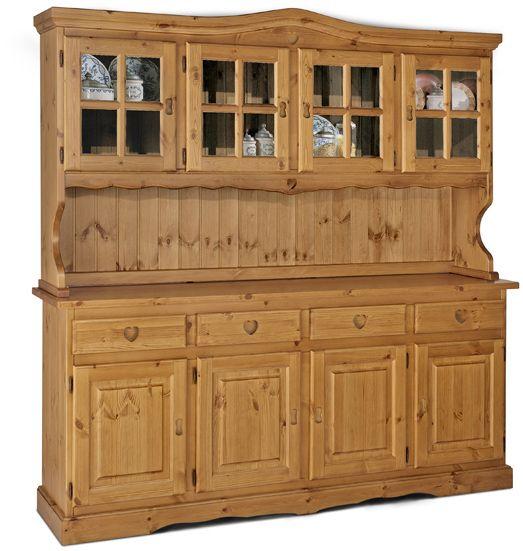 Cristalliera cuore rustico in legno massello di pino di Svezia, proposto in finitura miele. www.arredamentirustici.it
