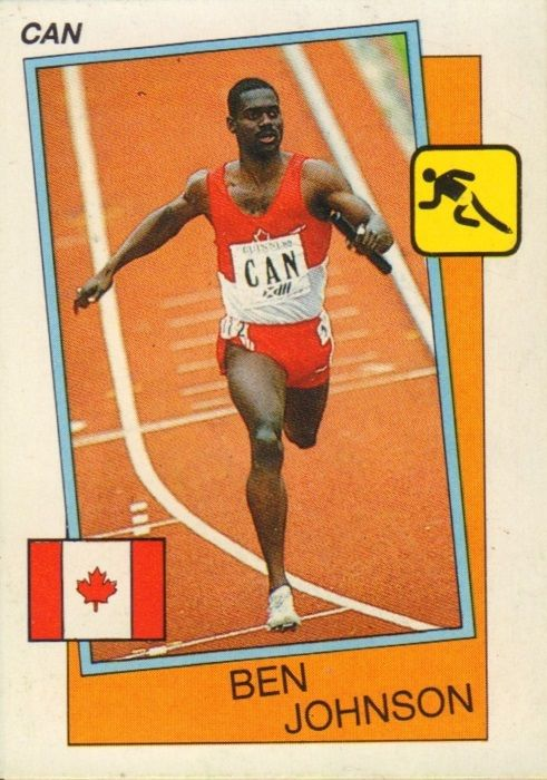 011 - Ben Johnson (Athletics) - Falmouth (Jamaica) 30.12.1961. Now runs for Canada. In the 1986 Commonwealth Games he won gold at 100m and 4 x 100m. Won the World Cup 100m in 1985 and the 60m gold at the World Indoor Games of 1985 and the World Indoor Championships of 1987. World record holder at 60m.