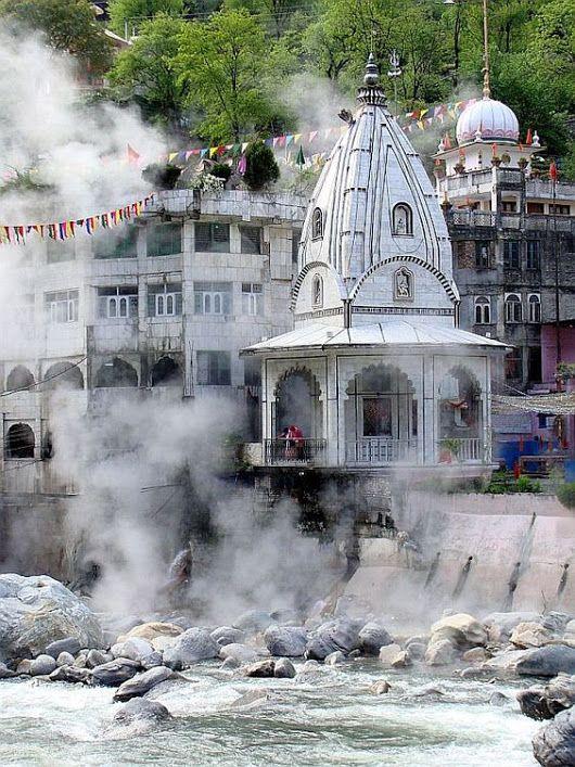 Hot water springs, Manikaran Temple, Kullu, Himachal Pradesh.
