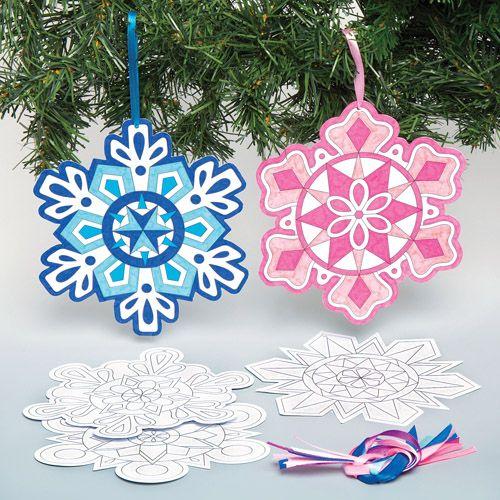 Snowflake Mandala Colour-in Decorations