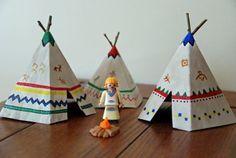How to Make Mini Teepees/Tipi with free printable template  #nativeamerican #homeschool