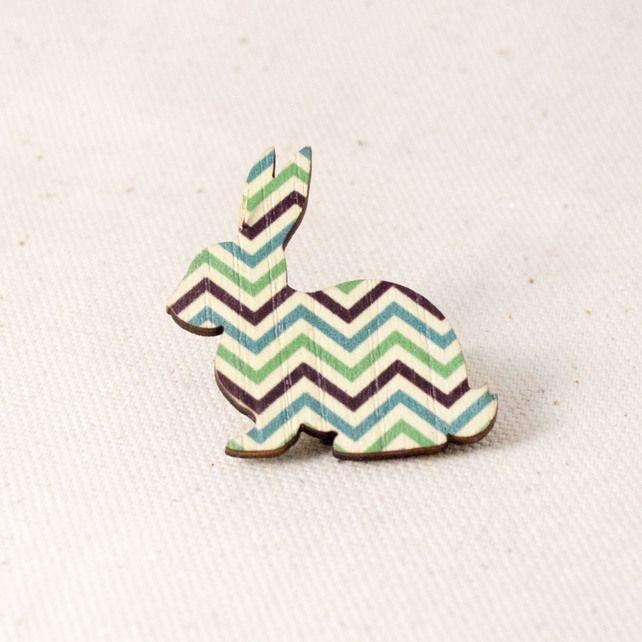 Easter gift idea - Chevron Design Rabbit Brooch