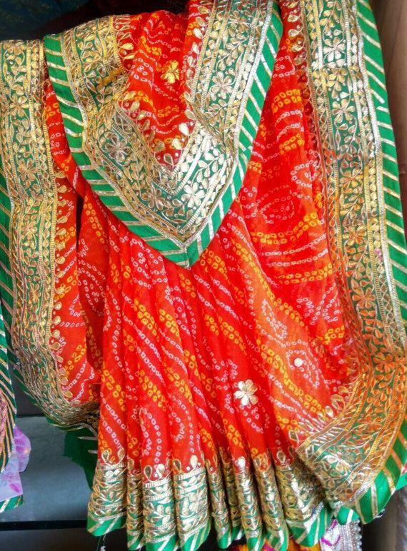 Georgette Bandhani Saree with Gota Patti Work by Threadsandblocks