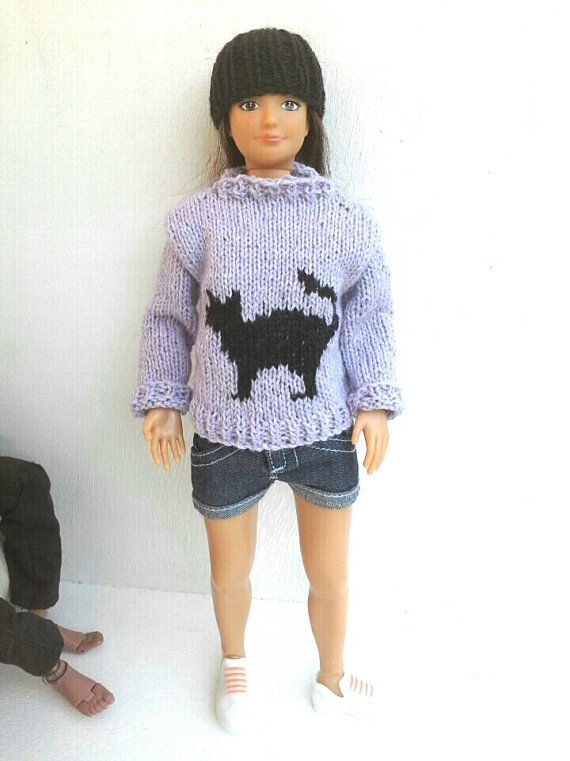 Sweater and beanie for Lammily doll hand knit by magicalcrumbs