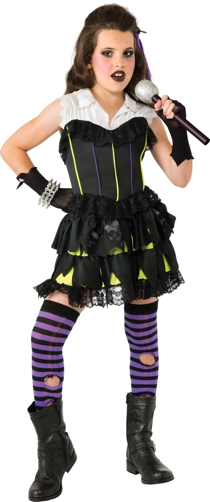 Goth Rock Star Girl's Costume