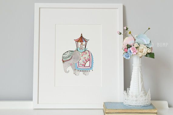 Girl's Nursery Art Rabbit and Elephant Pink by DaisyandBumpArt