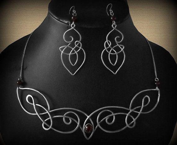 "Elven Celtic necklace and earrings ""Daëlynn"""