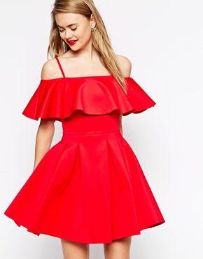 ASOS Scuba Debutante Bardot Frill Mini Dress