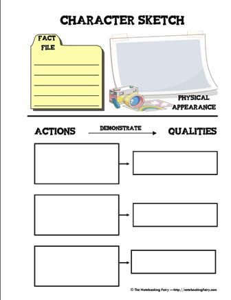 character-sketch-notebooking page from @Jimmie Heusler Lanley's Notebooking Fairy site.