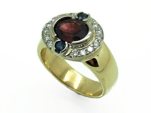Handcrafted Garnet, Sapphire and Diamond Ring