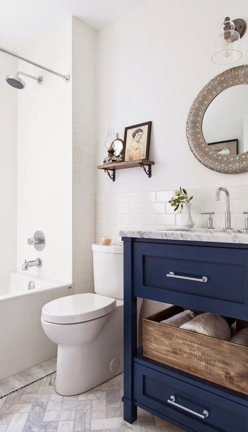 Nautical blue and white bathroom.