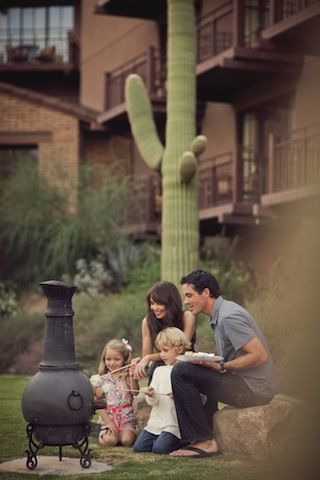 A southwestern version of the firepit is the historic chimenea, seen throughout The Ritz-Carlton, Dove Mountain and available at many outdoor stores. Originally, all ceramic open fire garden heaters imported to the US from Mexico were known as chimineas. They originated hundreds, if not thousands, of years ago, by Mexican tribesmen who developed them to provide heat as well as cooking capabilities.