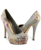 These pair of chic stiletto heels features a soft floral pattern beneath shimmering sheer sequins. High heel. Exposed platform. Padded insole. Textured outsole.    DETAILS:  - Measured from size 9  - 5.8' approx back heel height; 2.75' approx shaft height from high point heel; 1.25' approx platform height   - Upper: 78% polyester, 22% cotton; insole: 100% PVC; outsole: 100% rubber  - Imported
