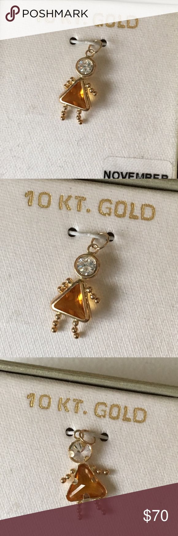 "NEW 10K Gold November Girl Birthstone Pendant Brand new in box. Pendant measures about .75"" long. Pendant to put on your own chain necklace or bracelet. Pendant only, does not come with a chain. Jewelry"