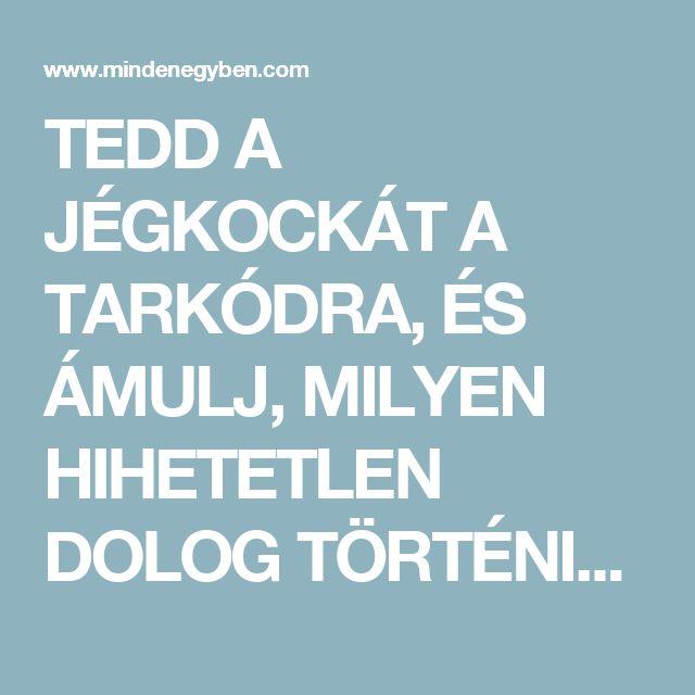 TEDD A JÉGKOCKÁT A TARKÓDRA, ÉS ÁMULJ, MILYEN HIHETETLEN DOLOG TÖRTÉNIK A TESTEDDEL! - MindenegybenBlog