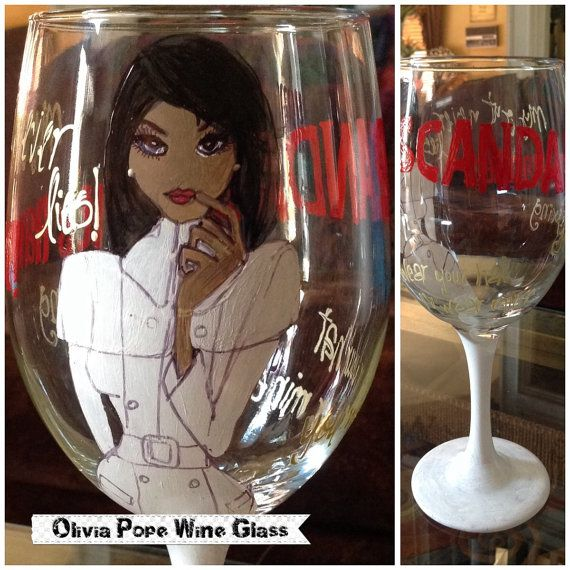 The Olivia Pope Party Wine Glass by SugarLumpCreations on Etsy, $25.00. I have a nice little punch recipe that would go great with this glass.