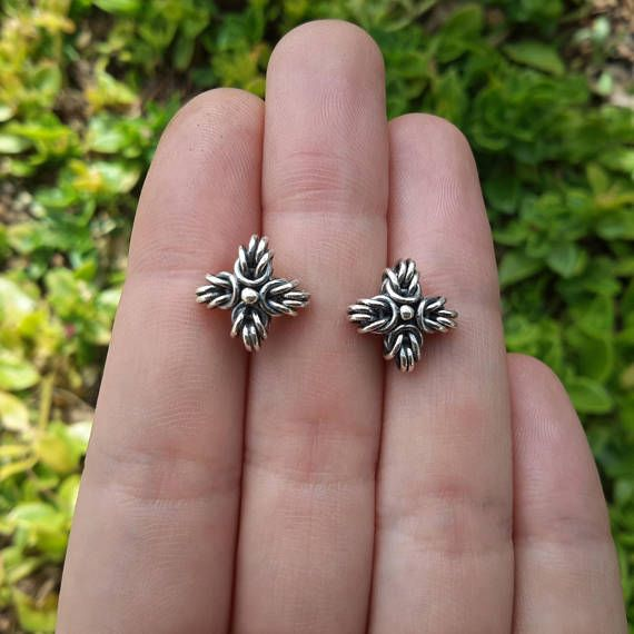 Chainmail cross stud earrings in solid sterling silver - Indigenous Jewels