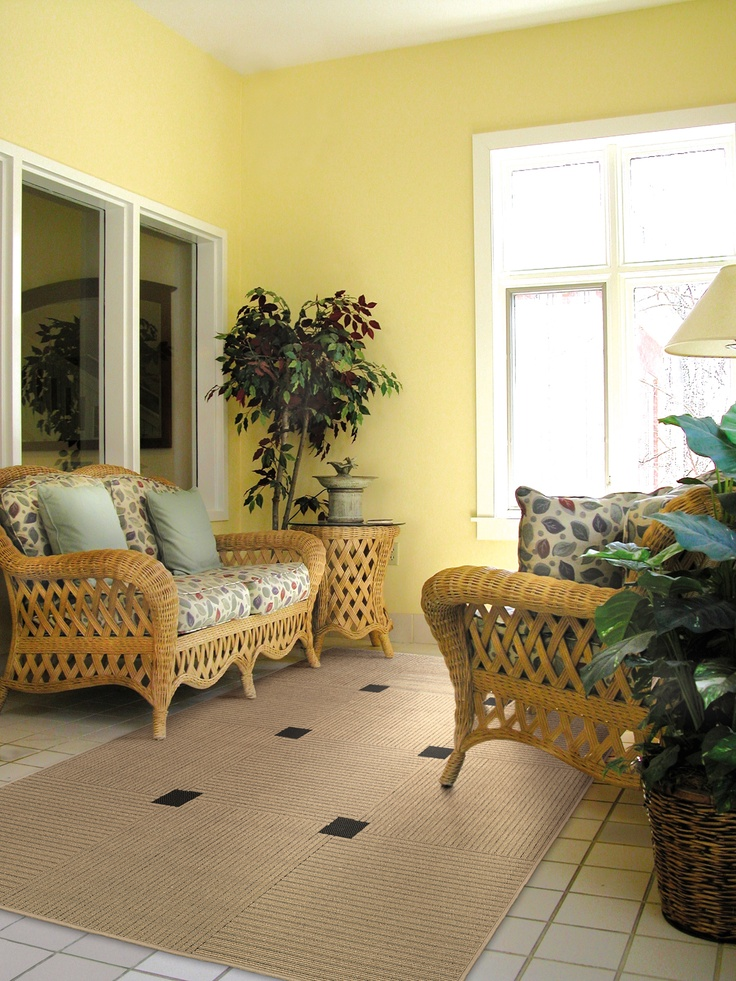 Yellow Walls Wicker Furniture Sun Room For Yellow