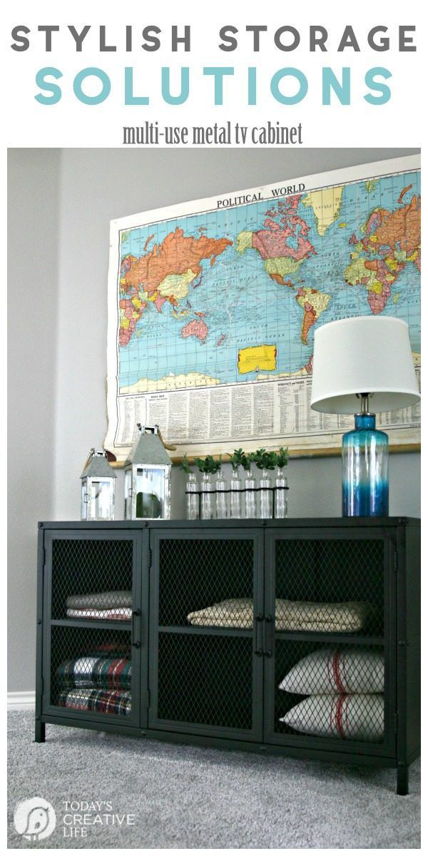 Stylish Storage Solutions   Industrial Metal TV Cabinet doubles as stylish storage   Organize your space   Organized Linen Closet   Create more Storage ideas   AD #BHGLivebetter TodaysCreativeLIfe.com