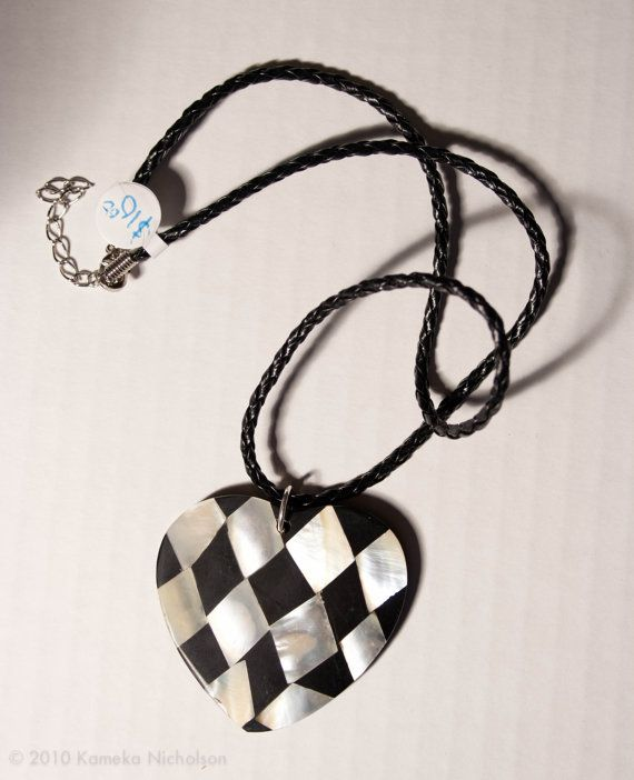 Checkered  HeartShell heart shaped pendant on by ElizabethsPearlz, $11.30