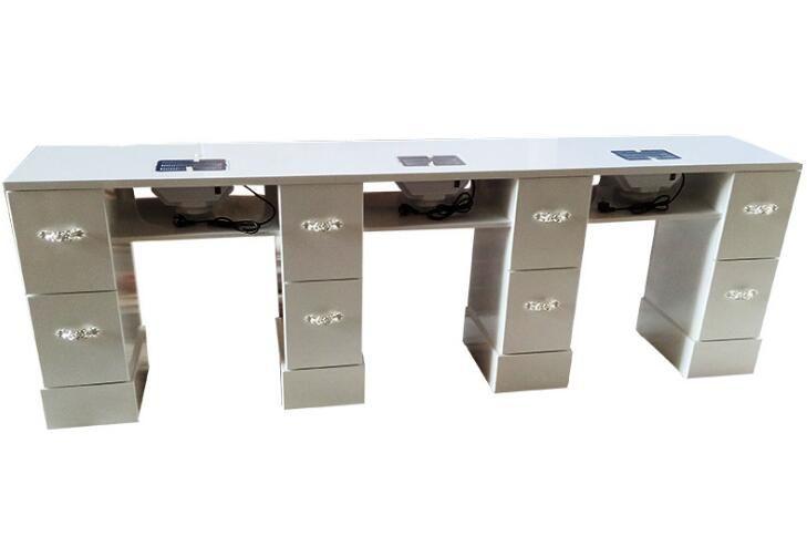 2019 的 White 3 seaters nail bar tables manicure stations nail desks ...