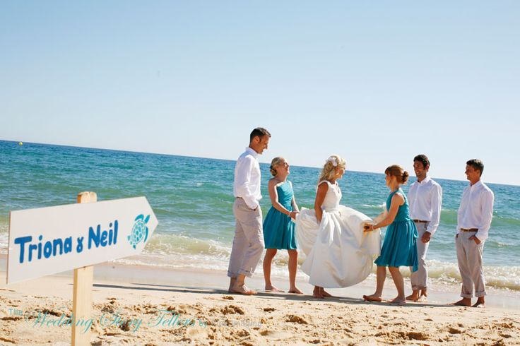Bridal party photos at the beach in the Algarve