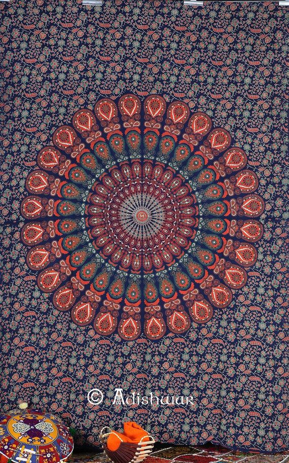 Handicrunch Indian Peacock Blue Meditation Mandala Hippie