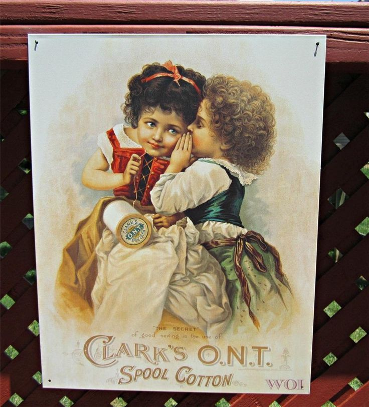 Clarks Spool Cotton Thread Company Victorian Clothing Children Advertising Sign | eBay