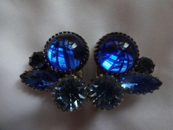 Vintage Juliana  D and E Cobalt Blue Cabochon And Light Blue Headlight Rhinestone Earrings