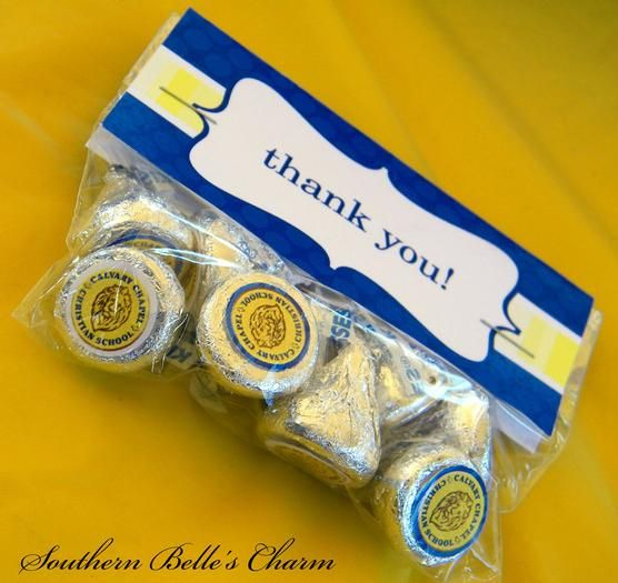 Thank you gifts for attending the Eagle Scout ceremony...use appropriate colors and the Eagle Scout symbol on the bottom of the kisses.