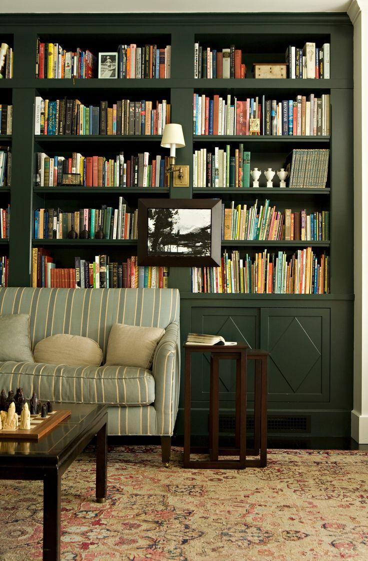 Home Library Bookshelves: Hunter Green Built In Bookcases + Dark Green Home Library
