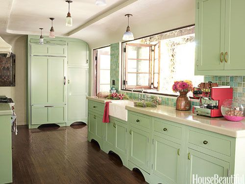 Folding windows open the kitchen up to the patio in a 1928 cottage designed by Kathryn M. Ireland. Custom tiles from Mission TileWest. Pendant lights from Liz's Antique Hardware.: Kitchens Design, Cabinets Colors, Dreams Kitchens, Kitchens Colors, Mint Green, Green Kitchens, Colors Kitchens, House, Kitchens Cabinets