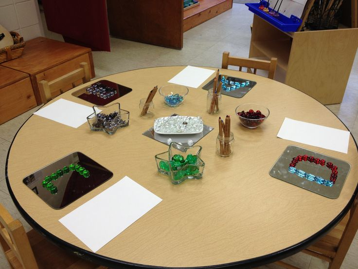 Reggio provocation: colored gem stones and colored pencils. I think they are the same tones as the stones to encourage reproductions of their loose part creations on paper.