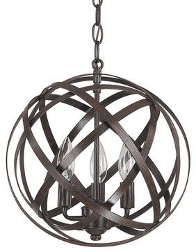 Small Metal Strap Globe Lantern - 3 Light outdoor-flush-mount-ceiling-lighting