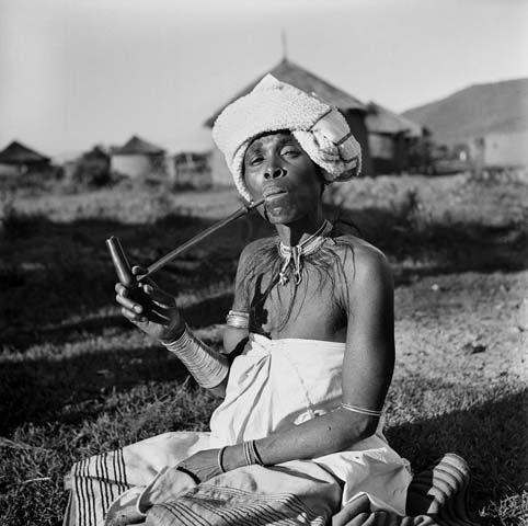 Xhosa woman smoking a pipe, Transkei, South Africa