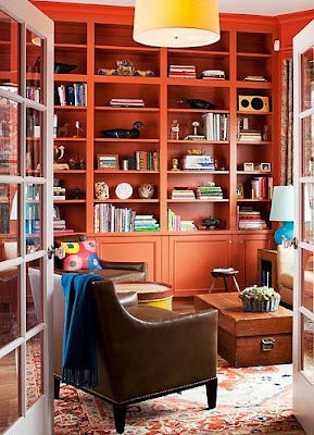 orange bookshelves