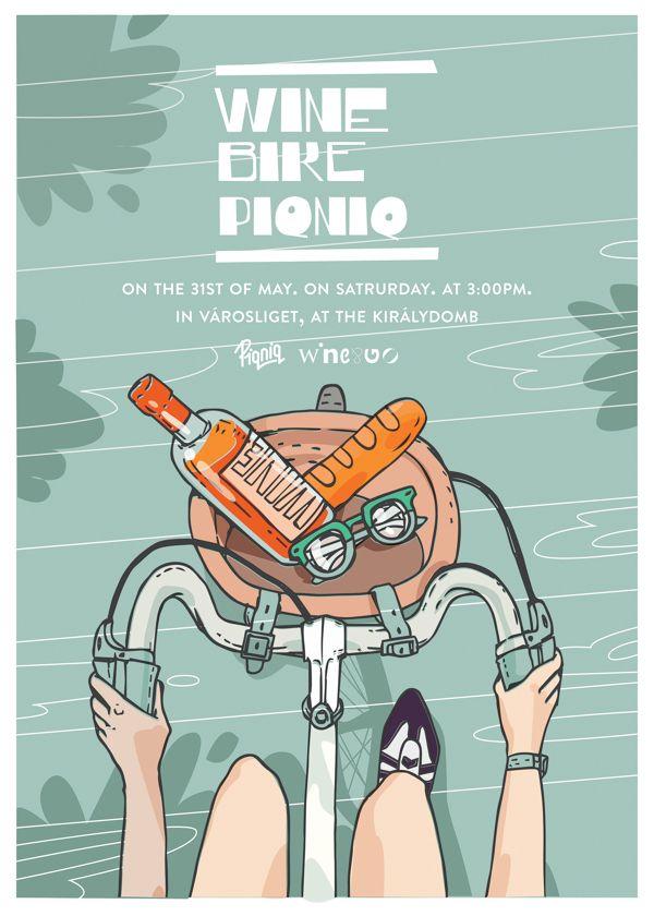 Wine Bike Piqniq posters by Aliz Buzas, via Behance