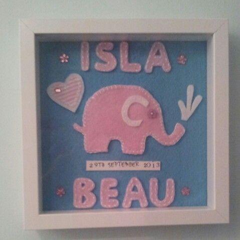 Elephant frame for new baby girl