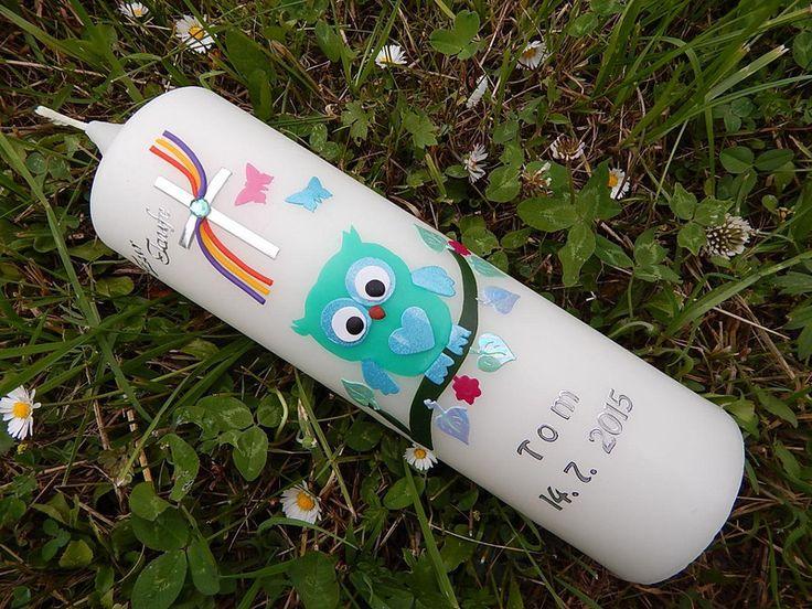 TAUFKERZE EULE von Lenz  Kerzen auf DaWanda.com
