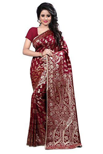 Shree Sanskruti Women's Tassar Silk Saree(Banarasi 1005 maroon_Maroon) - http://weddingcollections.co.in/product/shree-sanskruti-womens-tassar-silk-sareebanarasi-1005-maroon_maroon/