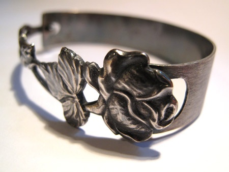 Laurase design bracelet out of a silver spoon.
