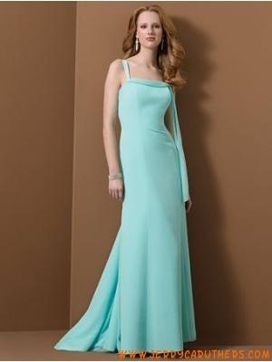 chiffon blauw bruidsmeisje Jurken