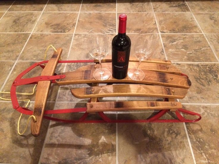 Vintage Wine Stave Snow Sled by WhereattWoodworking on Etsy https://www.etsy.com/listing/220843586/vintage-wine-stave-snow-sled