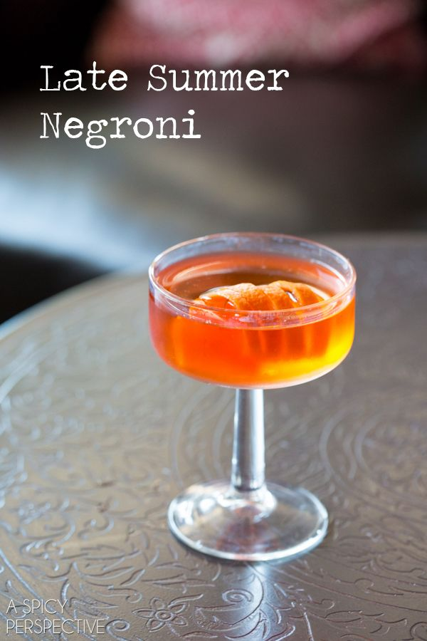 Late Summer Negroni // A fun twist on a classic negroni recipe. The Late Summer Negroni combines the bitter-sweetness of Aperol with Chamomile Tea for a back porch cocktail to sip during  a long indian summer.