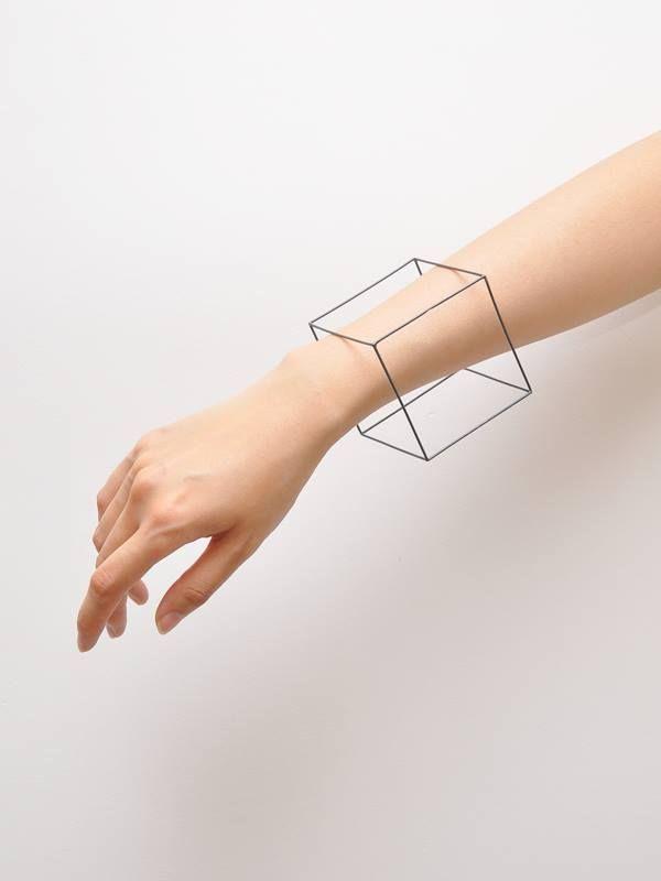 D. Connected to practical design. square   bracelet   3d