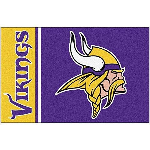 19 X 30 NFL Vikings Door Mat Printed Logo Football Themed Sports Patterned Bathroom Kitchen Outdoor Carpet Area Rug Gift Fan Merchandise Vehicle Team Spirit Purple Gold Nylon
