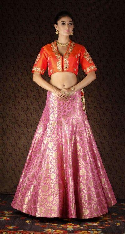 pink banarsi lehenga skirt , coral jacket blouse , coral raw silk blouse