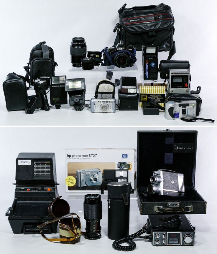 Lot 331: Camera Equipment Assortment; Including a Panasonic CB radio, a Bell & Howell 16mm movie camera, an HP photosmart R707 digital camera, a Daylab Jr Polaroid photo copier, a Minolta 7000 Maxxum camera, two Watchman portable radios and a Vivitar Series 170-210mm zoom lens