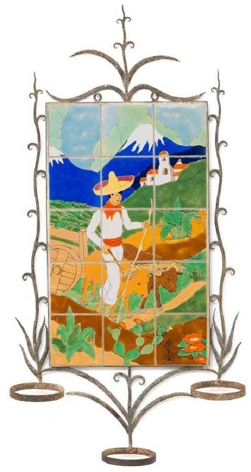 San Jose Pottery, 15-tile plaque, Man Plowing, 1938 - 20th Century Art Tile Plaque - Southwestern Tile