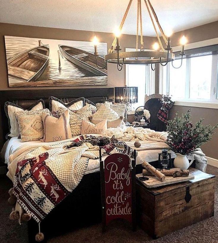 Amazing Rustic Lake House Bedroom Decoration Ideas 01 Cozy Master Bedroom Lakehouse Bedroom Rustic Master Bedroom